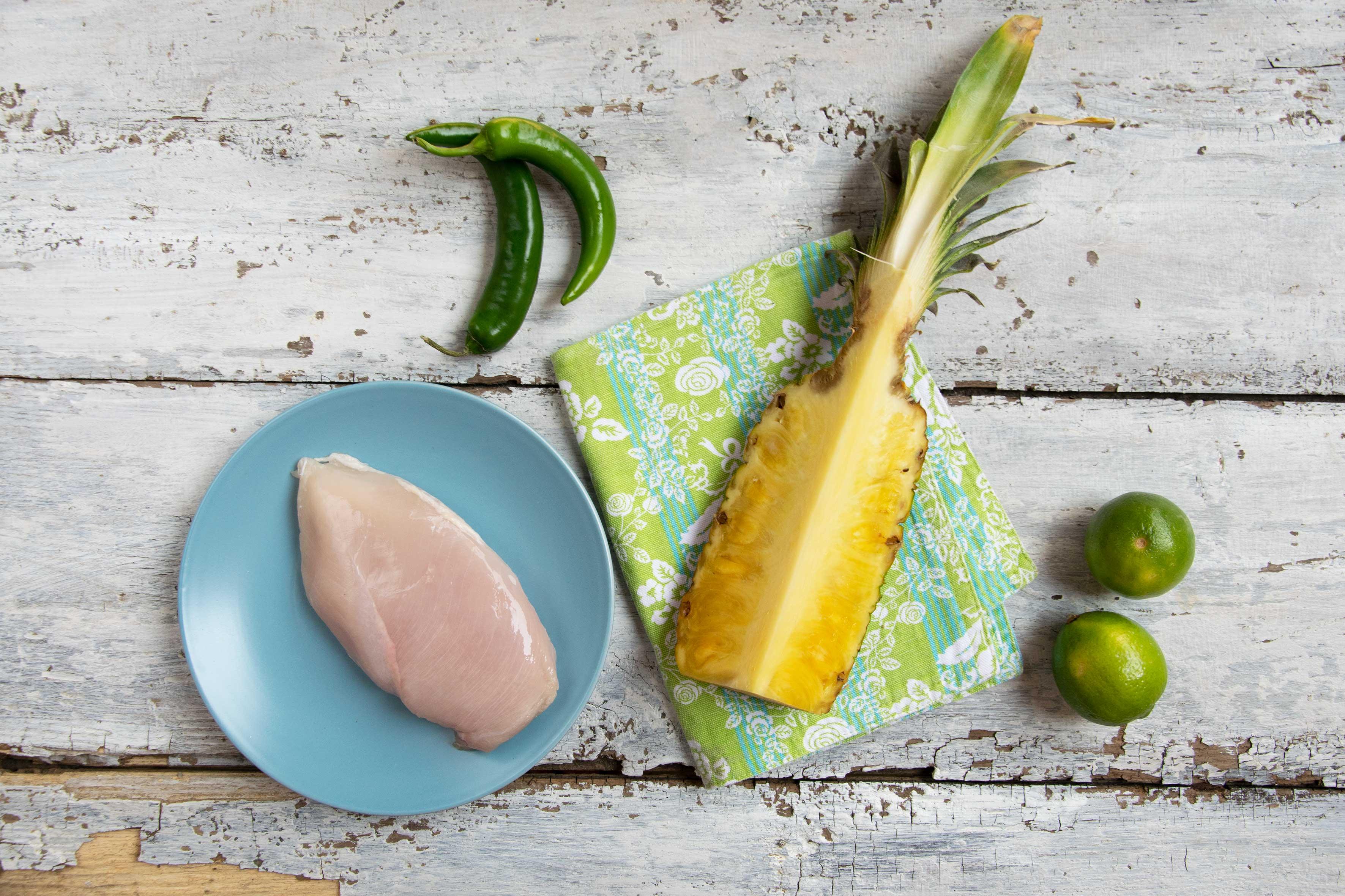 Spiedini di pollo e ananas